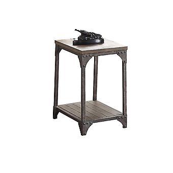 Mesa final rectangular de metal y madera de estilo industrial, marrón roble