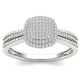 Igi certified 10k white gold 0.2 ct diamond  cluster halo engagement ring