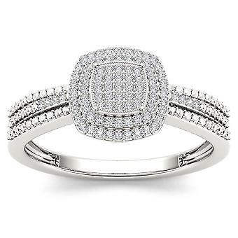Igi certifierad 10k vitt guld 0,2 ct diamant kluster halo förlovningsring