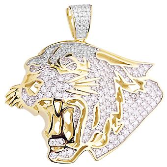 Premium Bling - 925 Sterling Silver Lion pendant gold