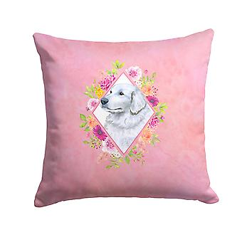 Great Pyrenees Pink Flowers Fabric Decorative Pillow