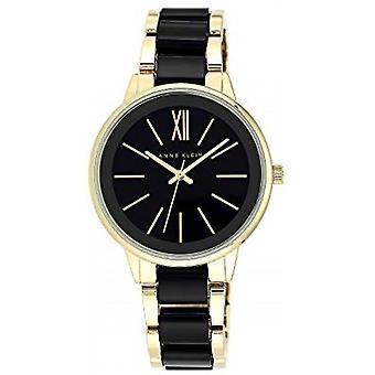 Anne Klein AK-N1412BKGB Watch - Black Steel Bracelet Bo tier Aluminium Dor Women