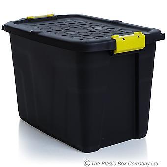 Strata Pack Of 3 - 60 Litre Heavy Duty Storage Trunk Noir/Jaune