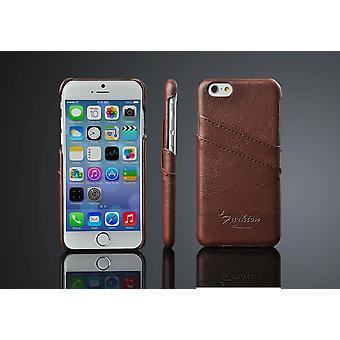 ajaksi iPhone 6S,6 asia, katu- itsetehty aito nahka kansi karstata lovi, ruskea