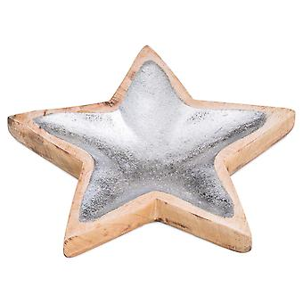 Hill Interiors Wooden Star Dish with Metallic Detail