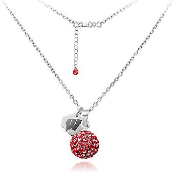 925 Sterling Silver Rhodium Plated Spirit Sphere Necklace University Of Wisconsin 18 Inch Jewelry Gifts for Women