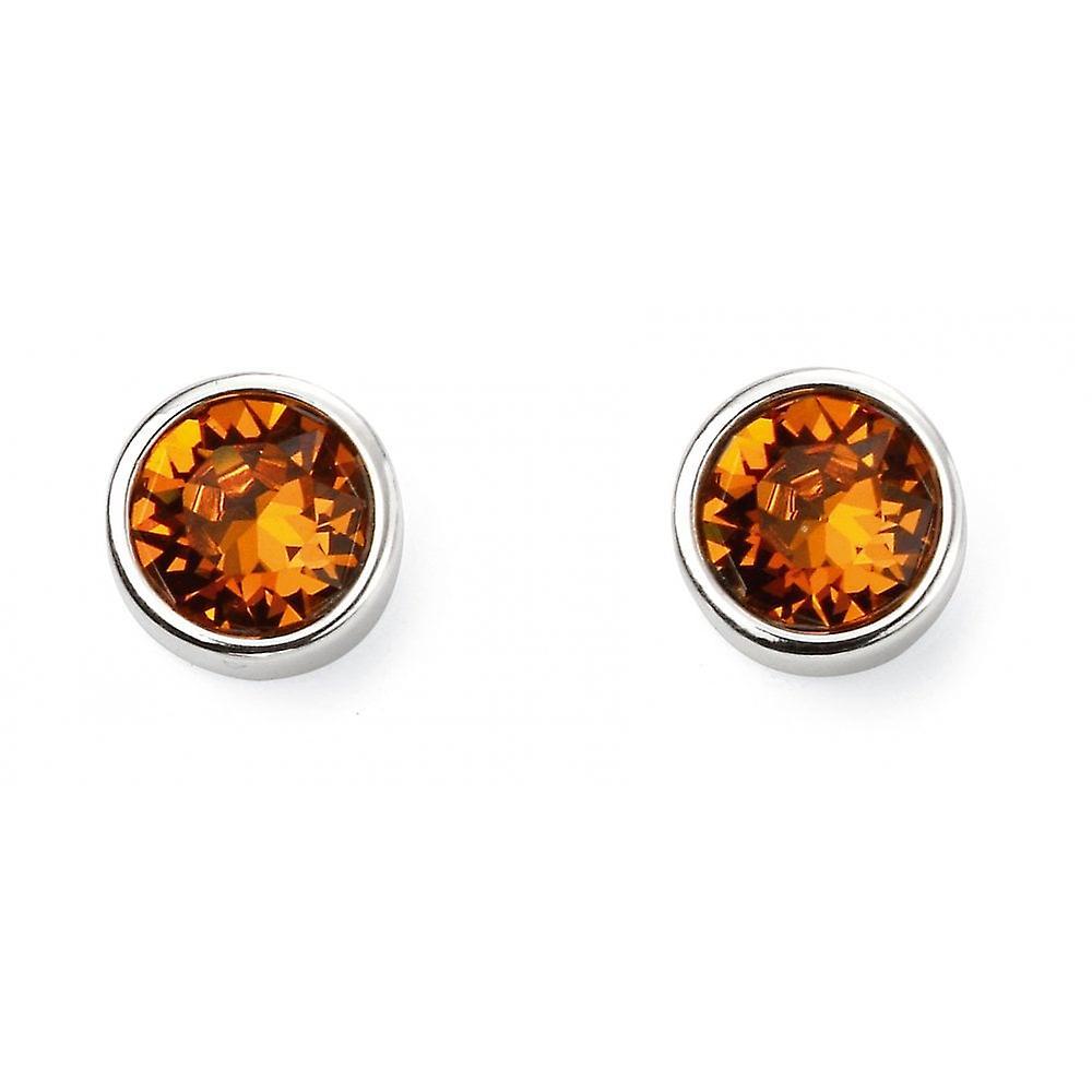 Joshua James November Birthstone Swarovski Topaz Stud Earrings