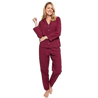 Cyberjammies 1350 Women's Nora Rose Lydia Burgundy Red Jacquard Print Cotton Woven Pyjama Set
