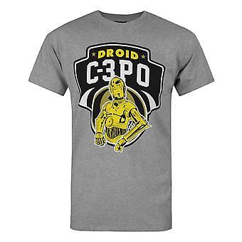 スターウォーズC-3POドロイドメン&アポ;sグレーTシャツ