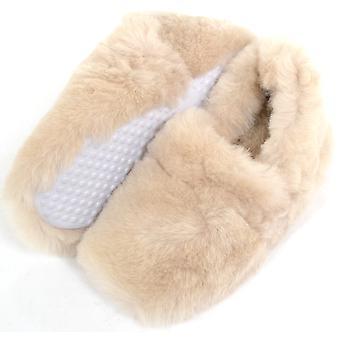 Mesdames / Womens luxe moelleux Slip sur Sheepskin Slippers - Beige - UK 6