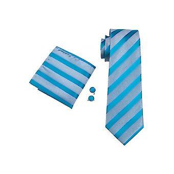 JSS Mens Blue Stripe Silk Neck Tie, Pocket Square & Cufflink Set