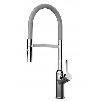 Single-lever Kitchen Sink Mixer met grijze tuit en 2 Jets Douche - 523