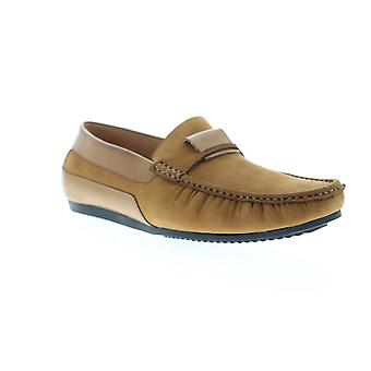 Zanzara Seurat  Mens Brown Leather Casual Slip On Loafers Shoes