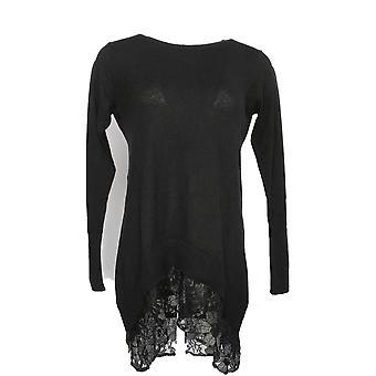 LOGOTIPO por Lori Goldstein Women's Sweater Cotton Cashmere Black A277446