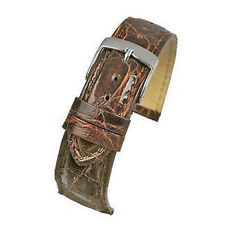 Autentico orologio coccodrillo italiano cinghia di medie dimensioni marrone 18mm e 20mm