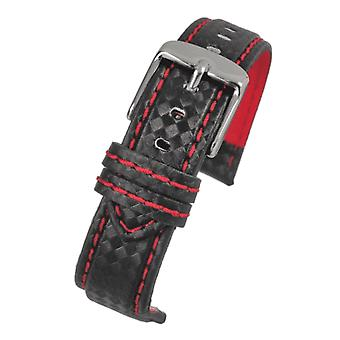 Carbon fibre watch strap with red stitching size 18mm to 24mm