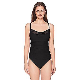 ELLEN TRACY Women's Scoop Neck One-Piece Swimsuit, Sheer Black, Size 8.0
