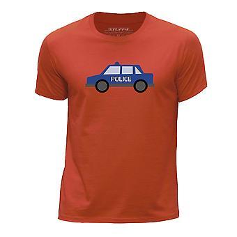 STUFF4 Boy's Round Neck T-Shirt/Police Car/Orange