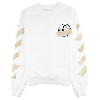 Off-White Off White Tape Pile Bomuld Sweatshirt Hvid