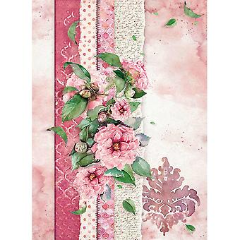Stamperia Rice Paper Sheet A4-Flowers For You Pink