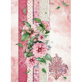 Stamperia Arroz Papel A4 Flores Para Usted Rosa