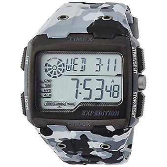 TW4B03000-Timex Herrenuhr mit Quarzwerk, schwarzes Zifferblatt und schwarzem Kunstharz Riemen