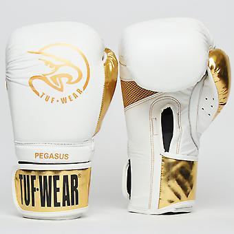 Tuf Porter le gant en cuir Pegasus blanc / Or