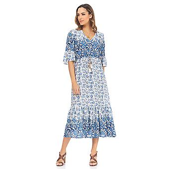Ethnic print midi dress with French sleeve and lace detail under the chest