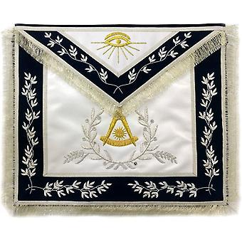 Masonic afgelopen meester schort hand geborduurd zilveren edelmetaal