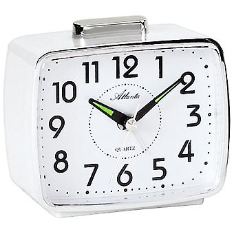 Atlanta 1654/0 Alarm clock quartz analog white with bell signal