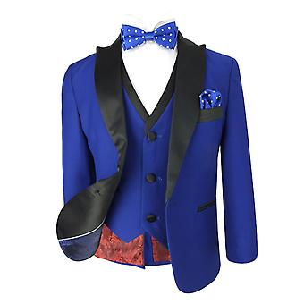 Boys Royal Blue Tuxedo Suit with Black Satin Lapel