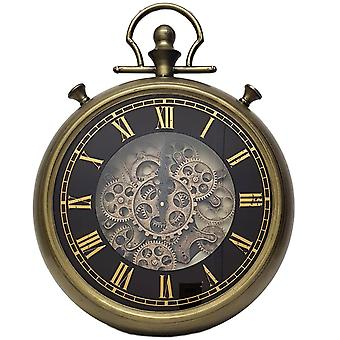 French stopwatch moving cogs wall clock - Gold and Black