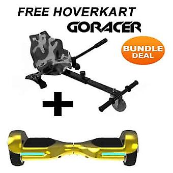 G PRO Gold Chrome Segway with a Camo Racer Hoverkart