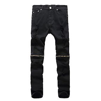 Allthemen Men-apos;s Tight Zipper Decorative Casual Jeans