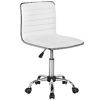 Swivel Dator skrivbordstol faux läder justerbar armlös Home Office Task Chair Vit