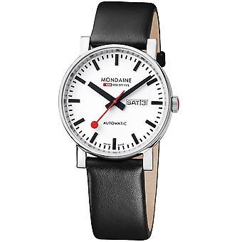 Mondaine Evo Automatic Black Leather Strap Men's Watch A132.30348.11SBB 40mm