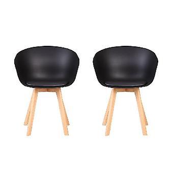 Chaise de fauteuil de couleur noire Bélier, bois clair polypropylène, jambes en bois 58.5x52x74.5cm