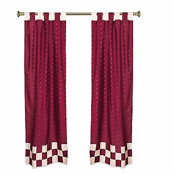 2 Eclectic Maroon Indian Sari Curtains Tab Top Curtain drapes