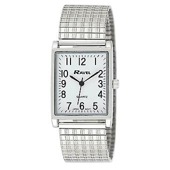 Ravel Gents White Rectangle Dial Silvertone Expander Bracelet Strap Dress Watch R0220.02.1