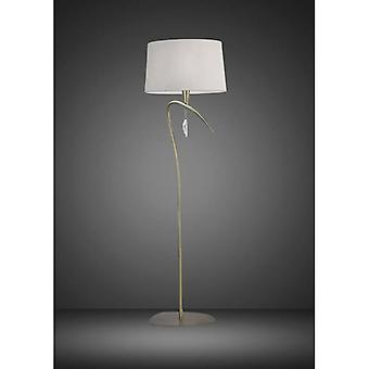 Mara 1 Light Bulb E27, Antique Brass With Ivory White Lampshade