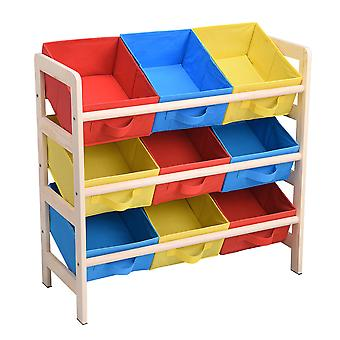 Yescom Kids Toy Storage Organizer with Pastel Multi Color Bins Foldable Nonwoven Toy Organizer for Playroom livingroom