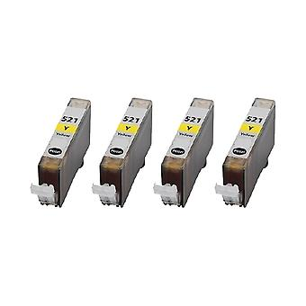RudyTwos 4x Replacement for Canon CLI-521Y Ink Unit Yellow Compatible with Pixma IP3600, IP3680, IP4600, IP4680, IP4700, MP540, MP550, MP560, MP620, MP630, MP640, MP980, MP990, MX860