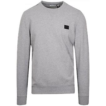 Antony Morato Grey Plaque Logo Crew Neck Sweatshirt
