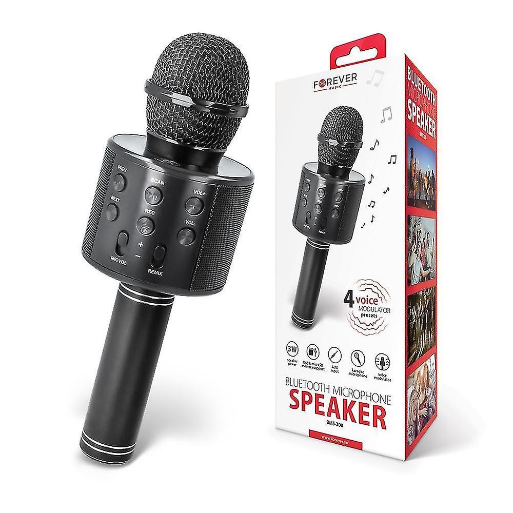 Forever BMS 300 Karaoke Mikrofon med Bluetooth høyttaler Svart