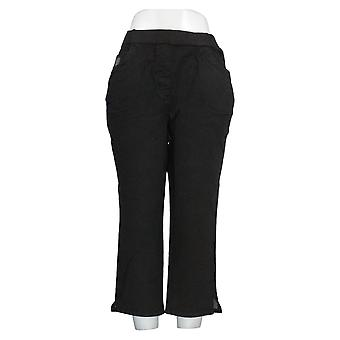 Quacker Factory Women's Pants DreamJeannes Pull-On Straight Leg Crop Black