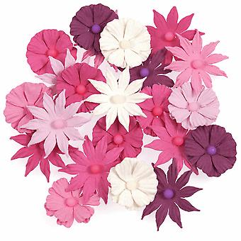 22 Pretty Pink Handmade Paper Flowers - Craft Embellishments