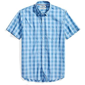 Goodthreads Men's Standard-Fit Kurzarm Gingham Plaid Poplin Shirt, blau/...