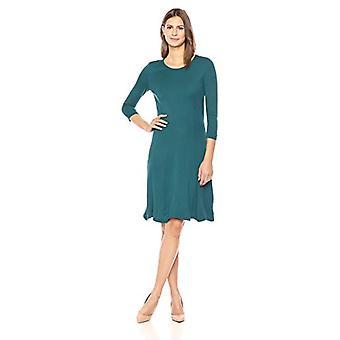 Lark & Ro Women's Three Quarter Sleeve Knit Fit and Flare Dress, Spruce Green, Medium