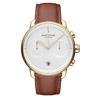 Nordgreen PI42GOLEBRXX White Dial Brown Leather Strap Wristwatch