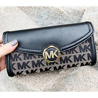 Michael kors jet set fulton large flap continental wallet beige black mk canvas